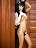 Asian Shemale Wawa rubs the lips of her brand new sex hole